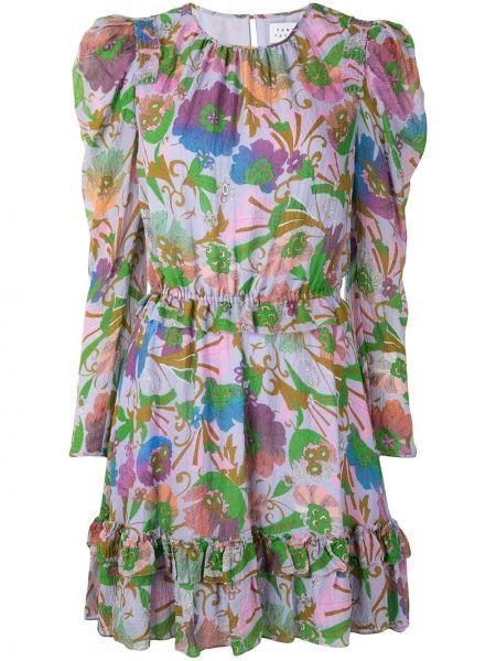 Шелковое платье с поясом с вырезом Tanya Taylor