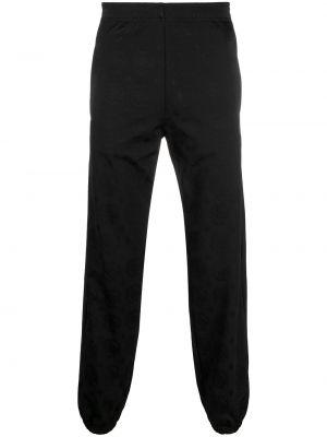 Черные спортивные брюки с поясом из вискозы Roberto Cavalli