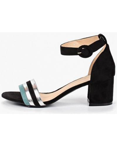 Босоножки на каблуке черные замшевые Sergio Todzi