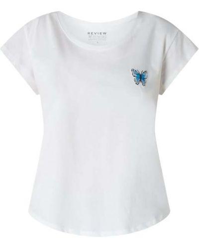 Biały t-shirt bawełniany z haftem Review