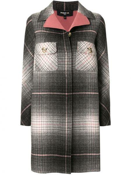 С рукавами серое шерстяное длинное пальто на пуговицах Paule Ka