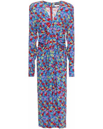 Sukienka midi z wiskozy zapinane na guziki z printem Rotate Birger Christensen