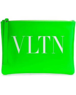 Torba sprzęgło skórzany zielony Valentino