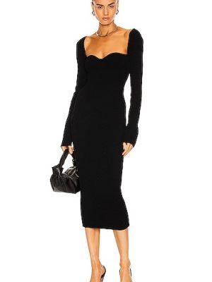 Черное платье макси с длинными рукавами стрейч Khaite