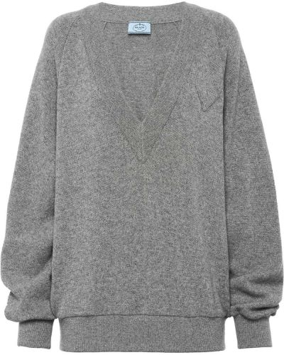Кашемировый серый джемпер с V-образным вырезом в рубчик Prada