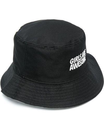 Czarny kapelusz bawełniany z printem Adidas