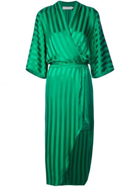 Приталенное шелковое платье миди с запахом с рукавом 3/4 Michelle Mason