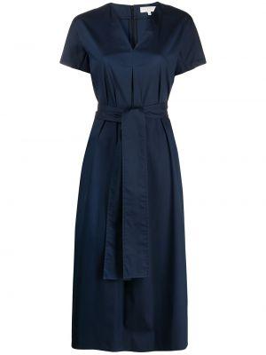 Хлопковое с рукавами синее платье миди Antonelli