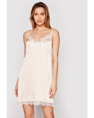 Satynowa piżama - beżowa Simone Perele