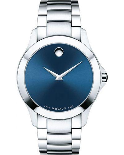 Часы водонепроницаемые швейцарские серебряный Movado