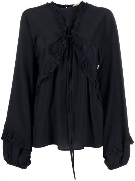 Шелковая черная блузка с длинным рукавом с круглым вырезом круглая N°21