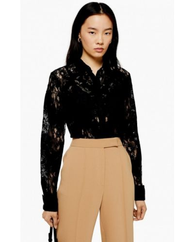Блузка кружевная черная Topshop