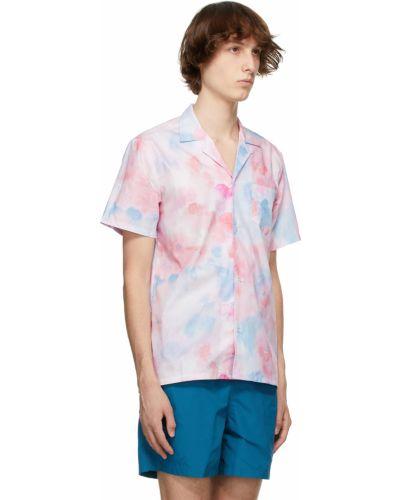 Niebieska koszula bawełniana krótki rękaw Bather