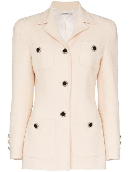 Шерстяной желтый пиджак с карманами Alessandra Rich