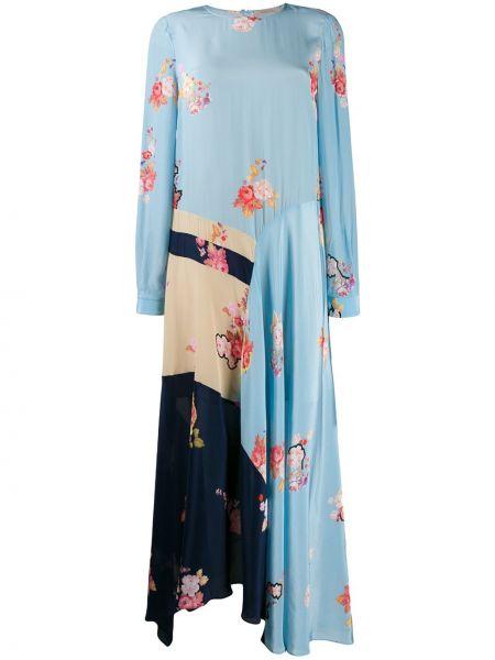 Синее асимметричное облегающее платье с вырезом узкого кроя Preen Line
