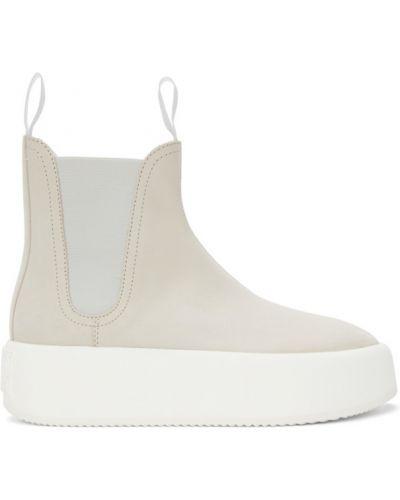 Кожаные белые ботинки на каблуке Mm6 Maison Margiela