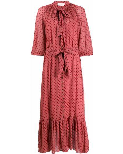 Платье макси розовое в горошек Zimmermann