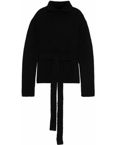Prążkowany czarny sweter wełniany Ellery