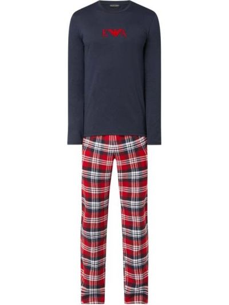 Piżama bawełna spodni piżama elastyczny z siatką Emporio Armani