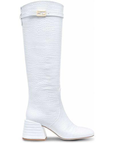 Кожаные сапоги - белые Fendi