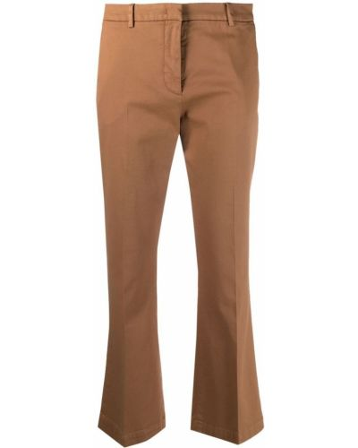 Хлопковые коричневые укороченные брюки стрейч Pt01