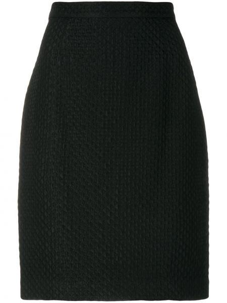 Черная прямая юбка миди винтажная в рубчик Krizia Pre-owned