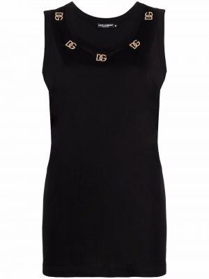 Черный хлопковый топ Dolce & Gabbana