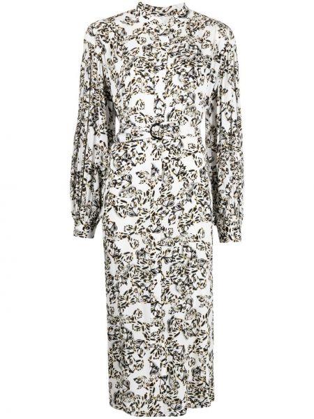 Шелковое белое платье макси с вырезом Lala Berlin