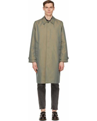 Zielony długi płaszcz bawełniany zapinane na guziki Wood Wood