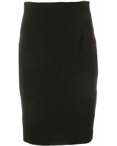 Юбка миди с завышенной талией черная Versace Collection