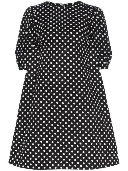 Хлопковое черное расклешенное платье мини Paskal