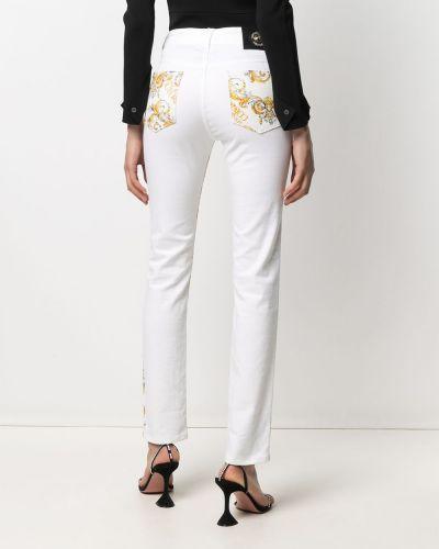 Облегающие белые джинсы-скинни на молнии Versace Jeans Couture