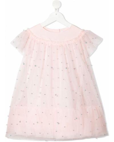 Różowa sukienka mini tiulowa krótki rękaw Charabia