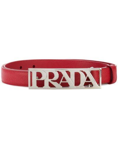 Красный ремень с пряжкой Prada