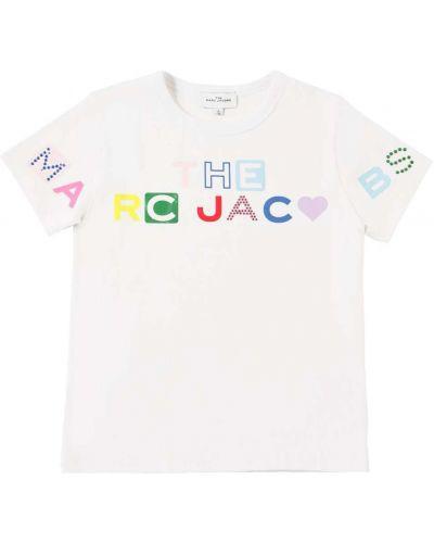 Трикотажная белая футболка со стразами Little Marc Jacobs