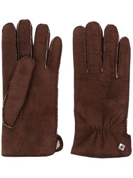 Zamsz brązowy rękawiczki prążkowany za pełne Lardini