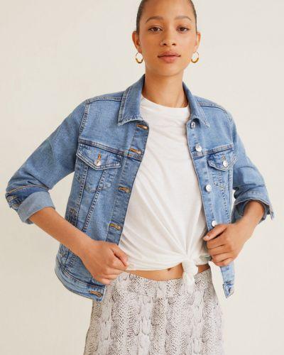 Синяя джинсовая куртка с манжетами на пуговицах с поясом Mango