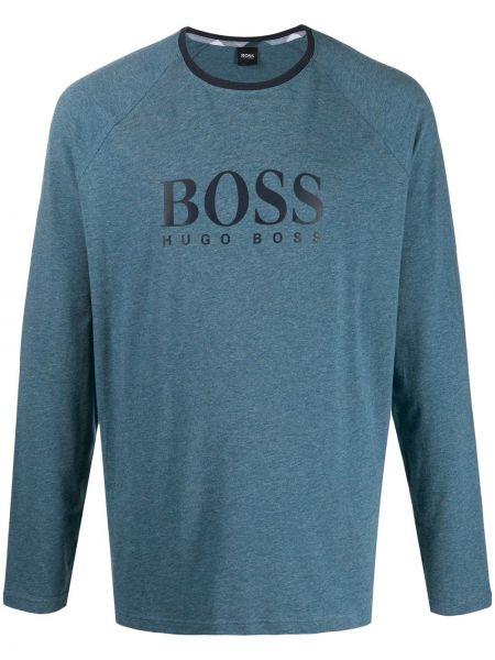 Niebieska piżama bawełniana z długimi rękawami Boss Hugo Boss