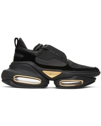 Черные кроссовки на шнурках на каблуке Balmain