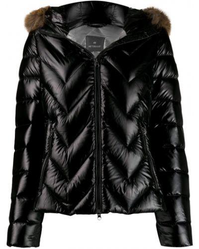 Прямая черная длинная куртка с опушкой Hetrego