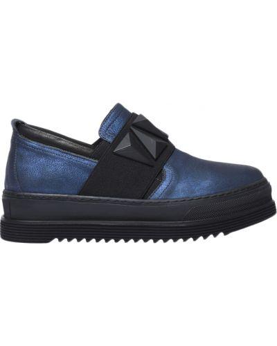 Кожаные слипоны - синие Laura Bellariva