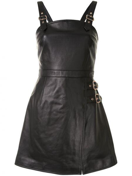 Черное кожаное платье мини без рукавов с вырезом Alice Mccall