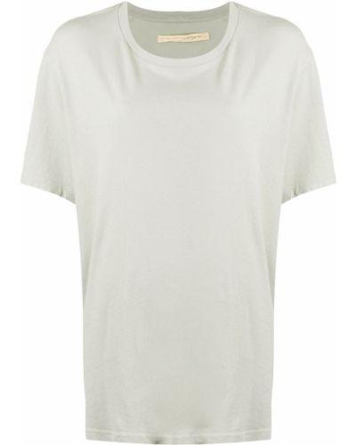 Хлопковая прямая серая футболка с круглым вырезом Raquel Allegra