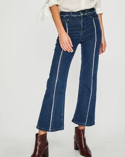 Расклешенные джинсы синие на пуговицах Trendyol