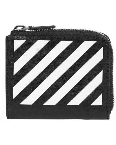 Czarny portfel skórzany z printem Off-white