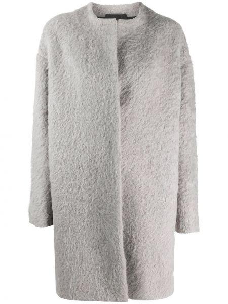 С рукавами серое однобортное шерстяное пальто Giambattista Valli