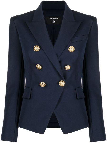 Шерстяной синий удлиненный пиджак двубортный Balmain
