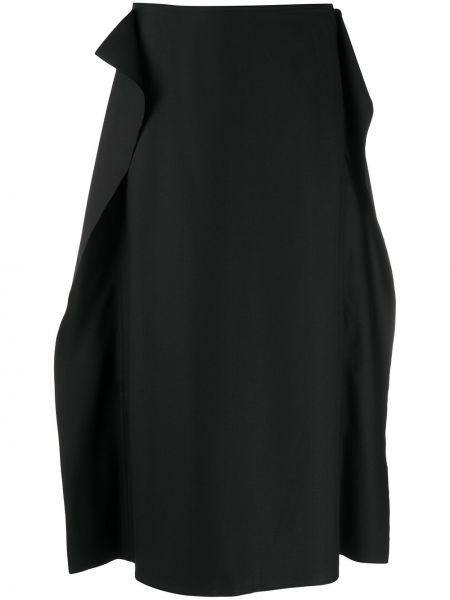 Шерстяная черная приталенная юбка карандаш до середины колена Sofie D'hoore