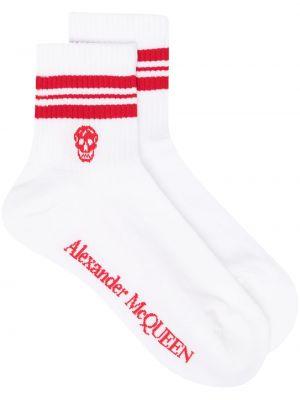 Хлопковые белые носки эластичные Alexander Mcqueen