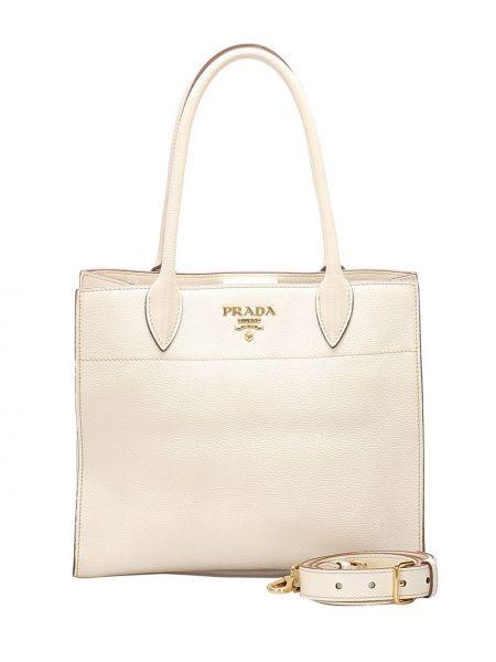 Кожаная белая сумка-тоут на молнии с карманами Prada Pre-owned